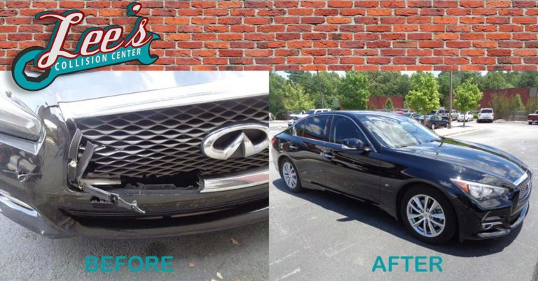 Before and After Infinity Q50 repair by Lee's Collision Center.