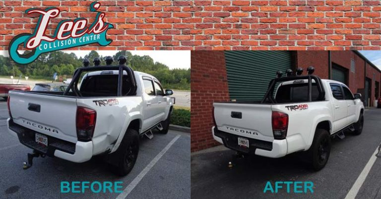 White 2017 Toyota Tacoma Before/After Repair