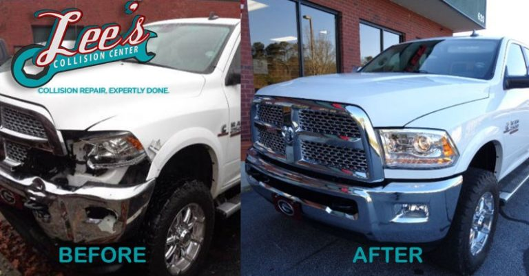 Side-by-Side Comparison of a Truck with Front Damage After Repair